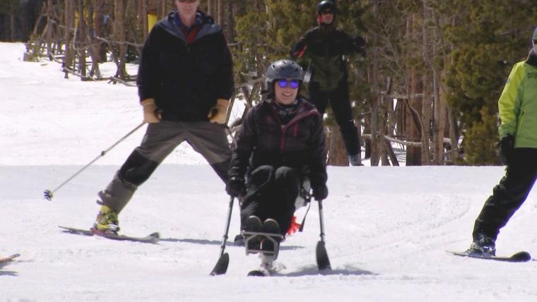 Amy Van Dyken-Rouen skiing