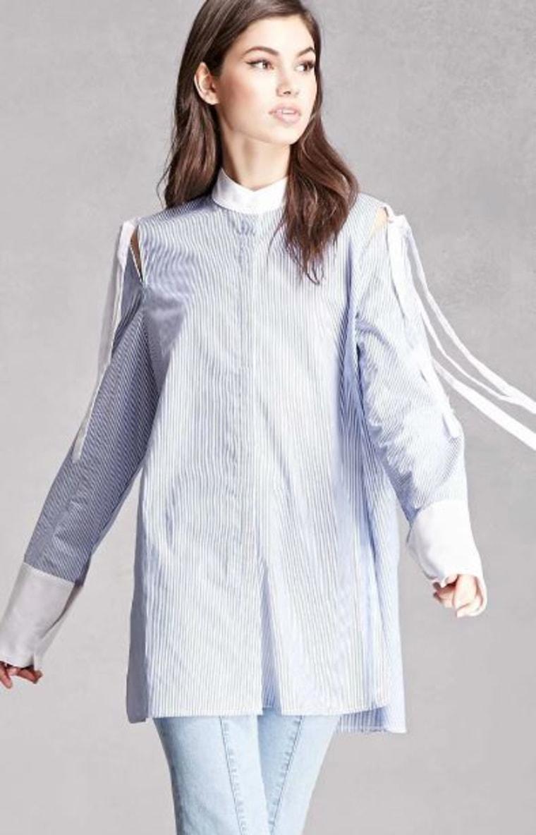 Open-Shoulder Pinstripe Shirt