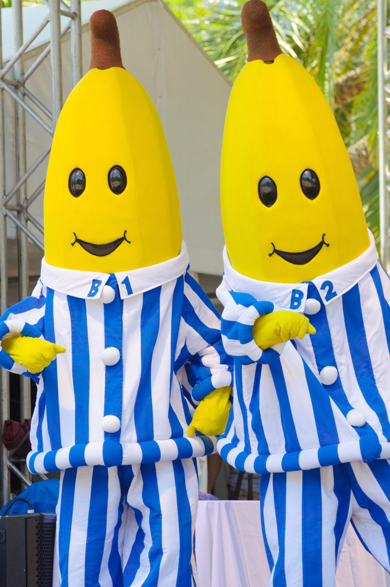 Bananas in Pyjamas, famous pre-school children's television characters, acting on stage