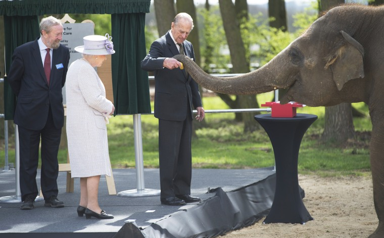 Queen Elizabeth II and Prince Philip feed an elephant