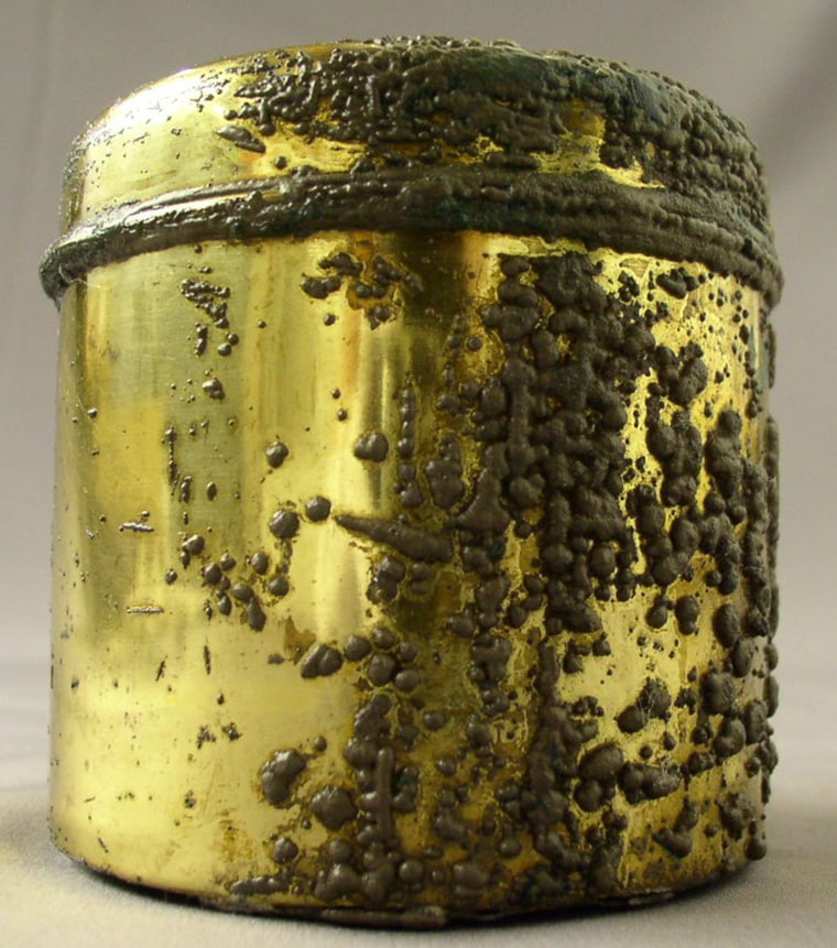 This brass shaving stick canister, which still contains its original shaving soap inside, is among the other Titanic items on display in Las Vegas.