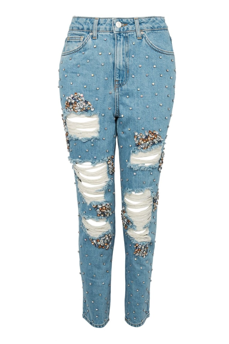 Gemstone Super Ripped Mom Jeans