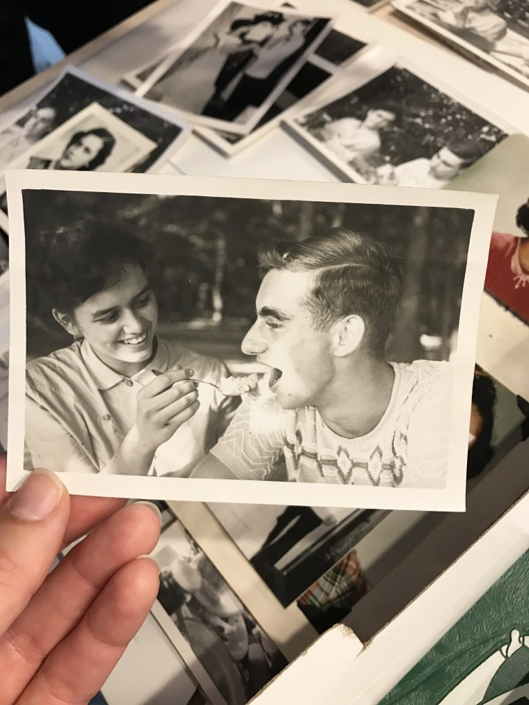 High school sweethearts Joyce Kevorkian and Jim Bowman enjoying a picnic together in 1953. The pair reconnected 64 years later and tied the knot.