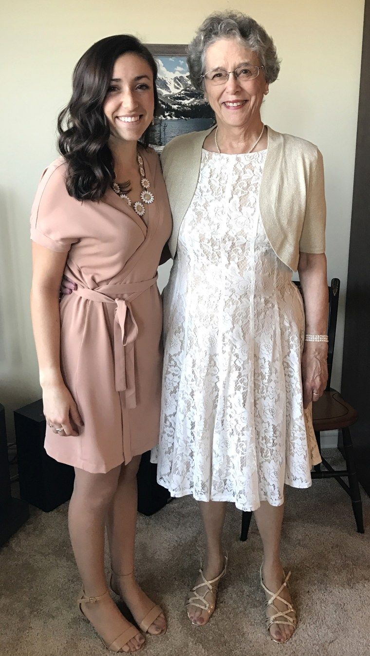 Joyce Kevorkian, 81, and her granddaughter and maid of honor, Anna Harris, 21, at her wedding on April Fools' Day in Indiana.