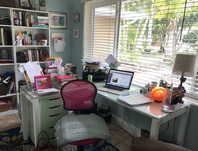 TODAY Parents Contributing Editor Terri Peters has carved out her own work space in her home, but she doesn't even walk in there without getting fully dressed first, she said.