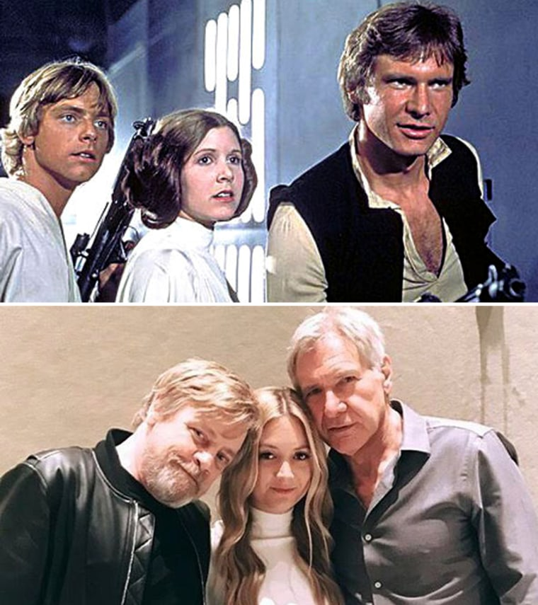 """Billie Lourd poses with her mother Carrie Fisher's """"Star Wars"""" co-stars, Mark Hamill and Harrison Ford."""