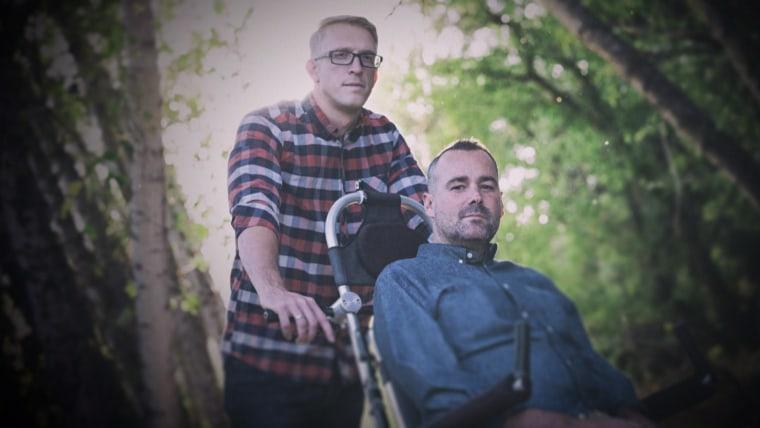 Patrick Gray (left) pushed his best friend, Justin Skeesuck, across Spain to help Skeesuck achieve his dream of making the challenging trek.