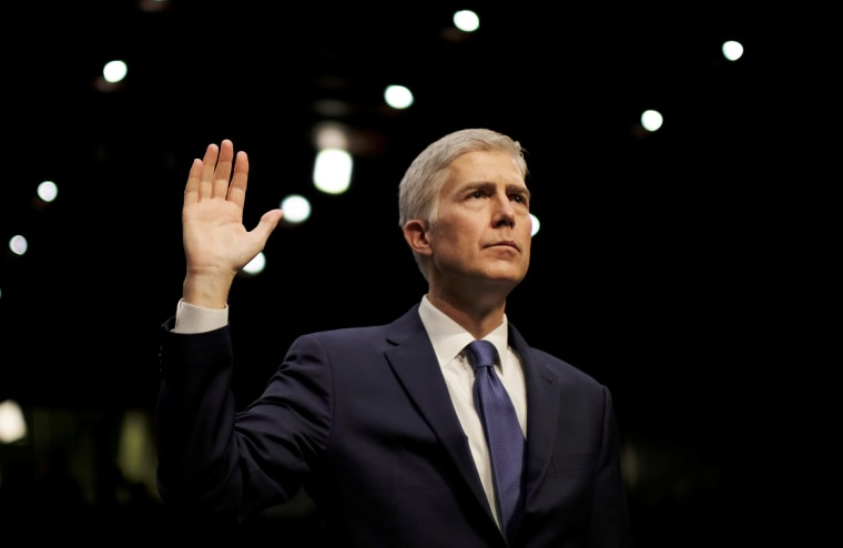Image: FILE PHOTO - Supreme Court nominee judge Gorsuch sworn in at his Senate Judiciary Committee confirmation hearing in Washington