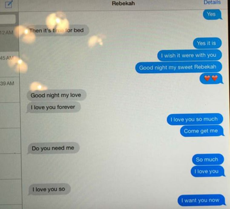 Image: Text message exchange reportedly between Alabama Governor Robert Bentley and former adviser Rebekah Caldwell Mason