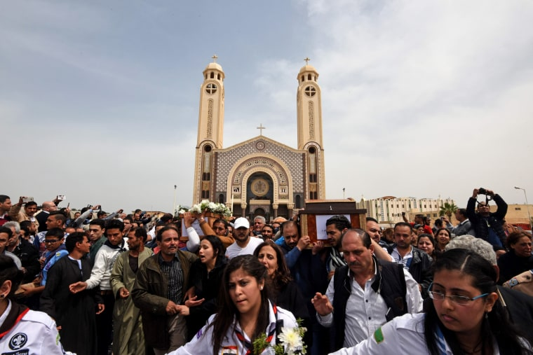 Image: Mourners participate in a funeral procession at the Monastery of Marmina, April 10.