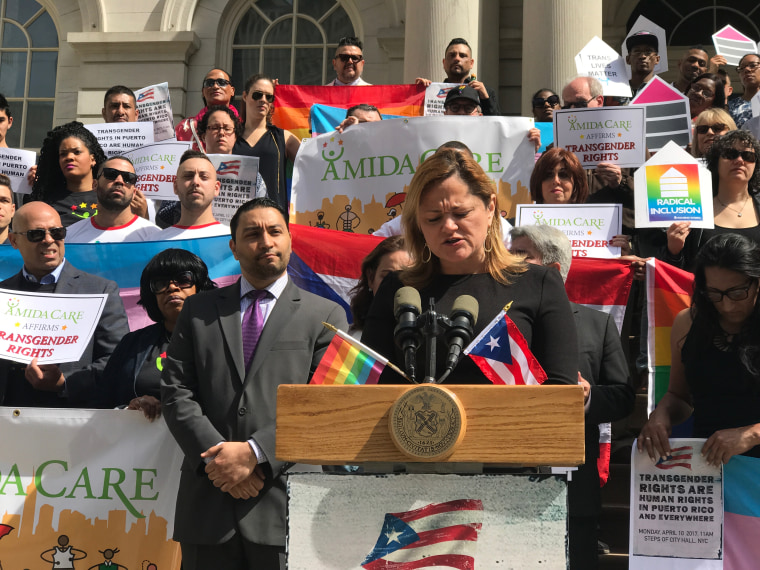 """Melissa Mark-Viverito, New York City Council Speaker, sends a """"a loud and clear message"""" to Puerto Rican senator Thomas Rivera Schatz after cutting rights to transgender employees in Puerto Rico's senate last week."""