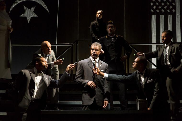Jimonn Cole as Malcolm X with (L to R) Tatiana Weschler, Gabriel Lawrence, N'Jameh Camara, Austin Purnell, Kevis Hillocks, Joshua David Robinson.