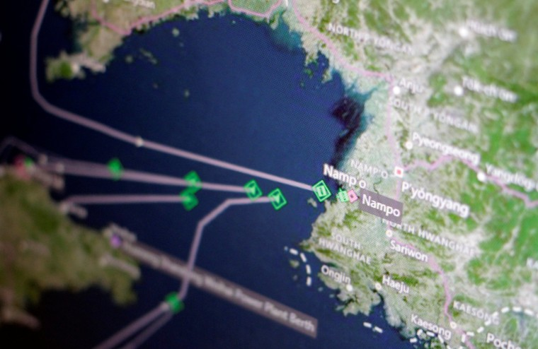 Image: A Thomson Reuters Eikon ship-tracking screen shows cargo ships returning to Nampo port