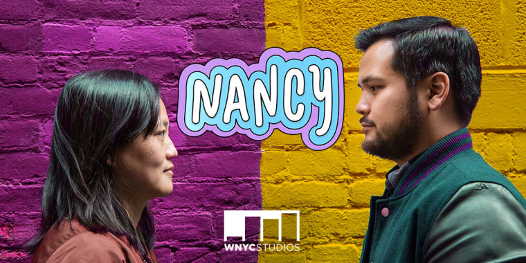 "(L-R) Kathy Tu and Tobin Low, hosts of NPR's new podcast, ""Nancy"""