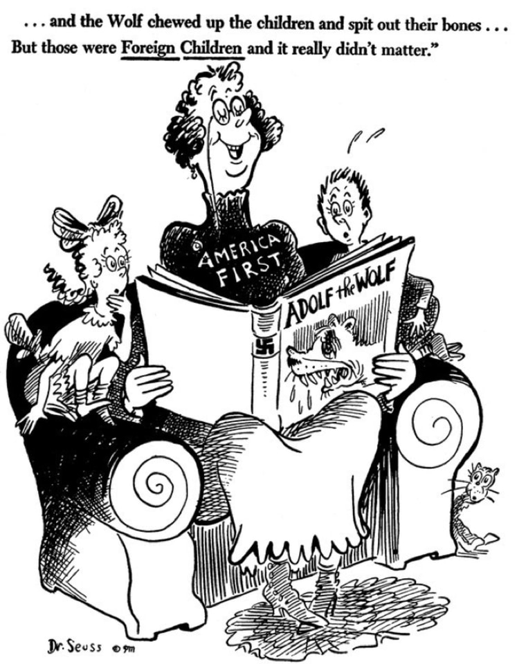 "A 1941 Dr. Seuss cartoon that criticizes the ""America First"" policy espoused by some at the time."