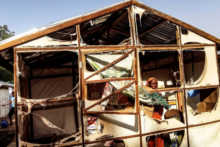 Image: A shelter damaged by a Boko Haram suicide attack near Maiduguri, Nigeria on March 22.
