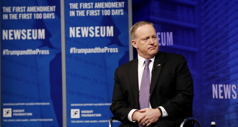 Image: Spicer speaks at the Newseum