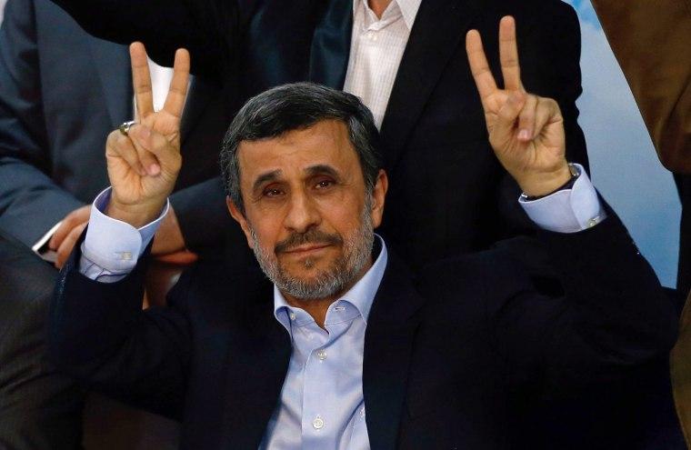 Image: Iran's former president Mahmoud Ahmadinejad at the Interior Ministry's election headquarters in Tehran