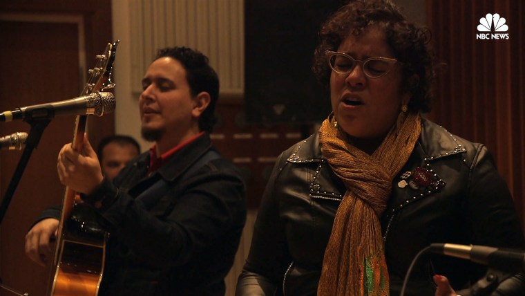 "La Santa Cecilia performs songs from their new album ""Amar y Vivir"" at a New York City showcase."
