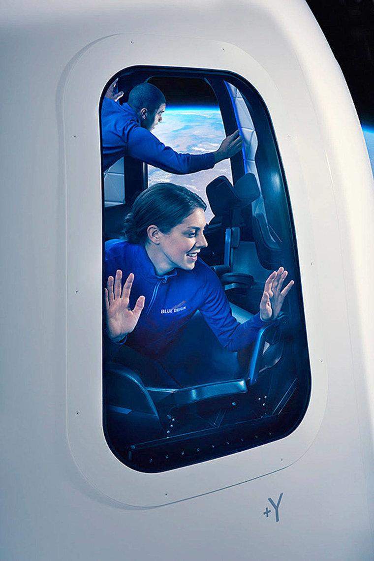 A digital representation of a passenger inside a Blue Origin New Shepard vehicle during flight.
