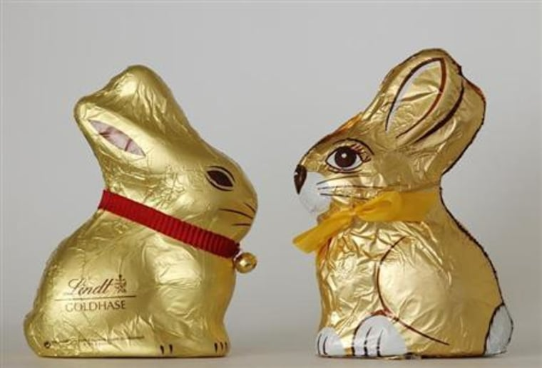 An illustration picture showing chocolate Easter bunnies by Swiss company Lindt and Austrian company Hauswirth taken in Vienna