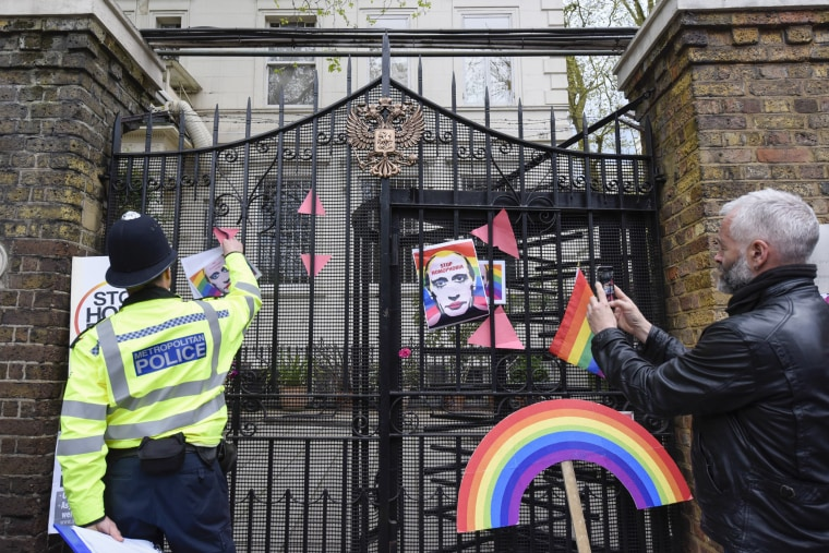 Image: Protest against Chechnya's treatment of gay community