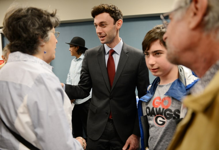 Image: Democrat Jon Ossoff campaigns for Georgia's 6th Congressional District