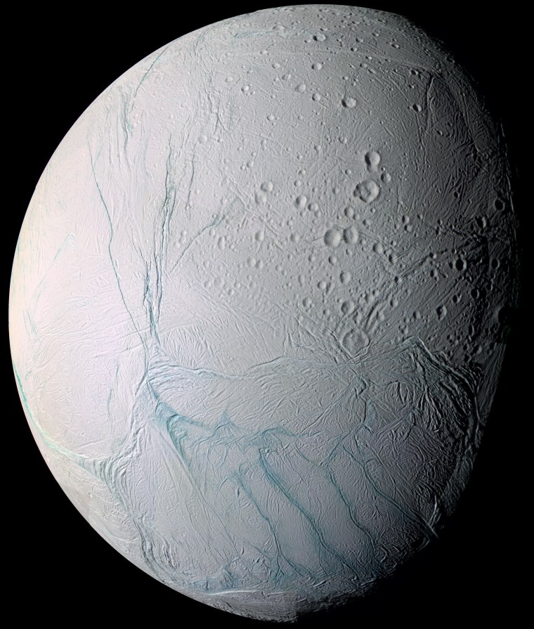 "This enhanced-color image of Enceladus by NASA's Cassini spacecraft features the ""tiger stripe"" fractures, from which geysers blast water ice and other material from the Saturn moon's subsurface ocean out into space."