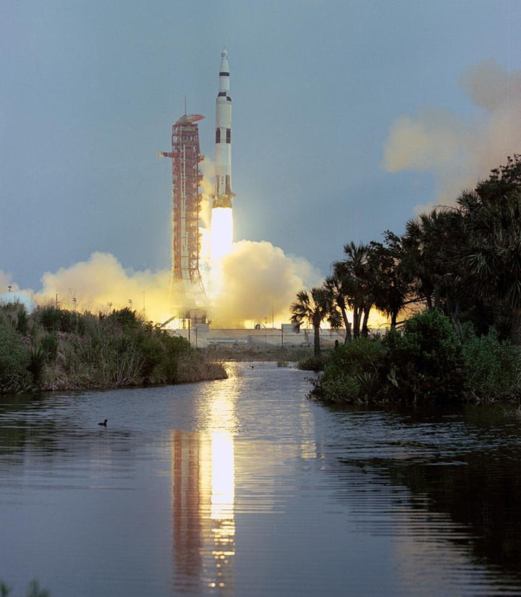 A Saturn V rocket launches with the Apollo 13 spacecraft at the Kennedy Space Center on April 11, 1970.