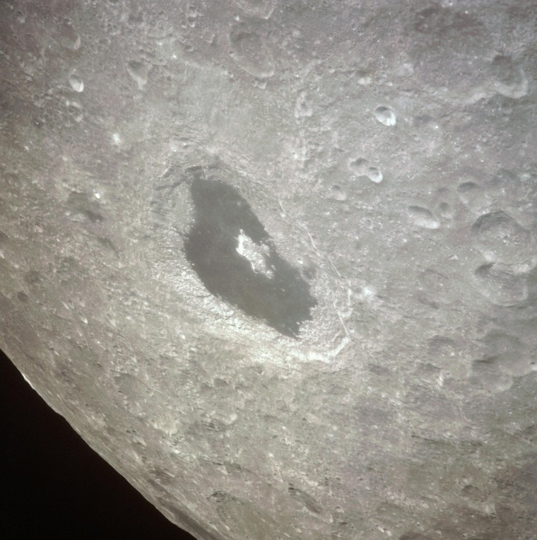 During their lunar pass on April 14, 1970, the crew of the Apollo 13 mission captured this view of the Tsiolkovsky crater on the far side of the moon, the hemisphere of the Moon that always faces away from Earth.
