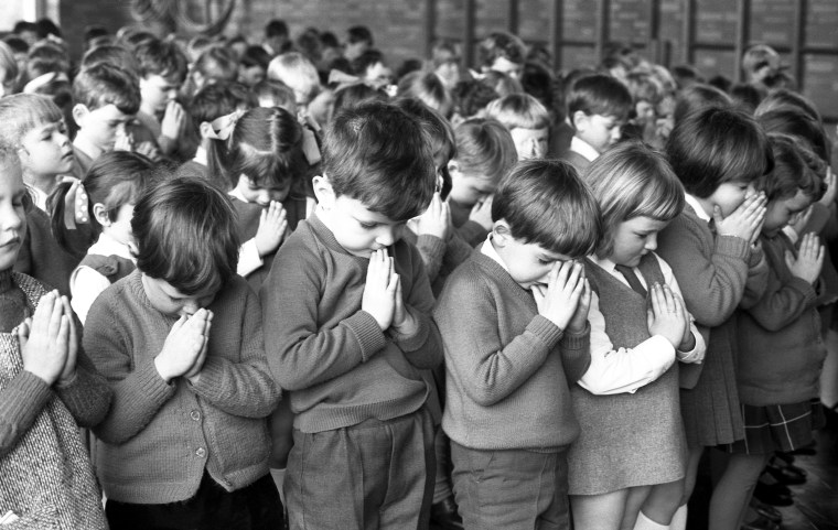 Children from St. Andrew's Church of England School, Eastern Green, Coventry, prayed for astronauts safe return from the