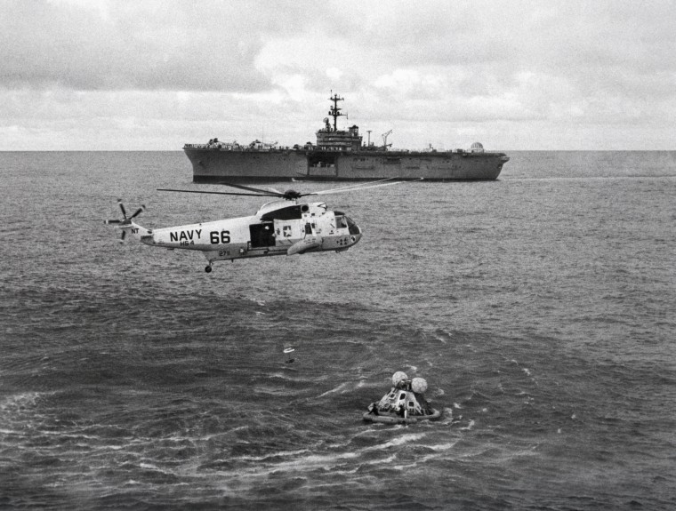 Helicopter Recovering Apollo 13 Capsule