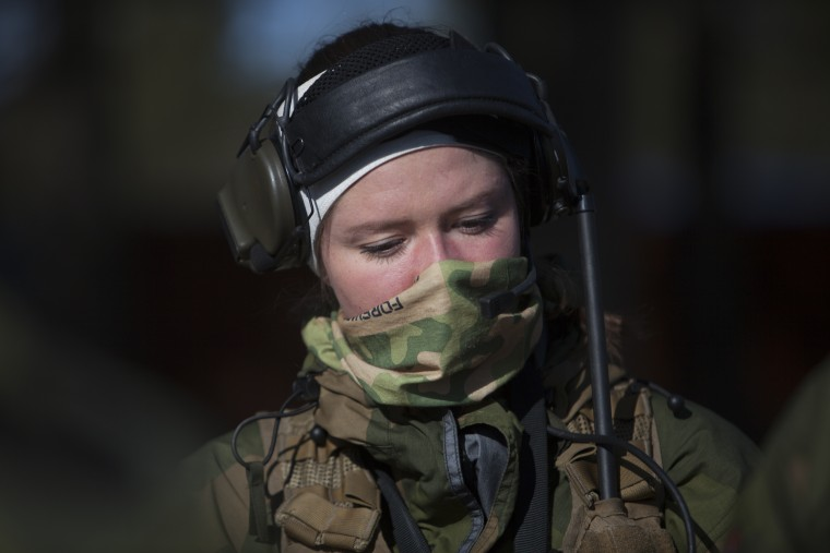 Image: A soldier rests after military training exercise at the Terningmoen Camp in Elverum, Norway