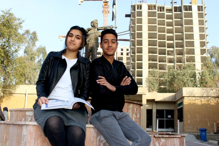 Image: Balqis Ahmed and Abdulhassan Mohammed, both 16, feel their school is an escape from life in Baghdad