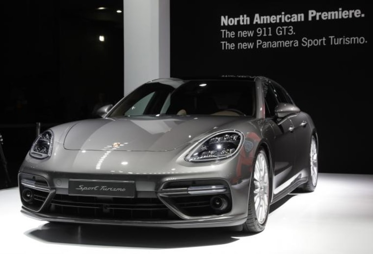 Porsche Panamera Sport Turismo is displayed at the 2017 New York International Auto Show in New York