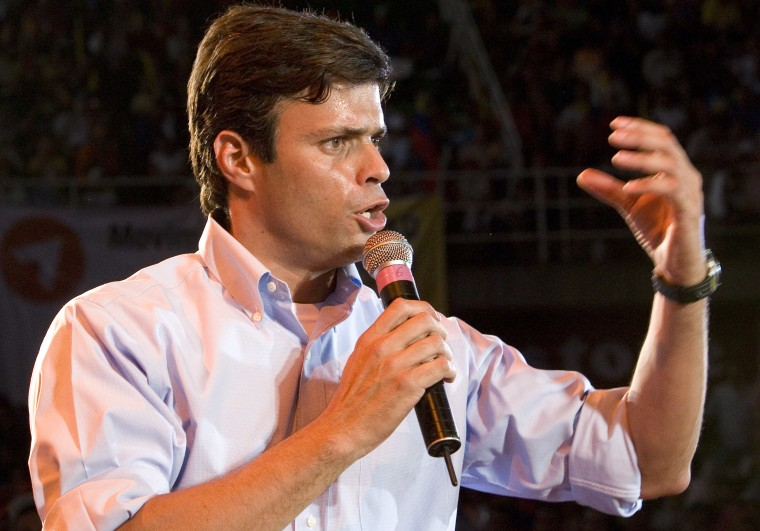 """In this photo taken Dec. 5, 2009, Leopoldo Lopez delivers a speech during the launch of his political organization """"Popular Will"""" in Valencia, Venezuela."""
