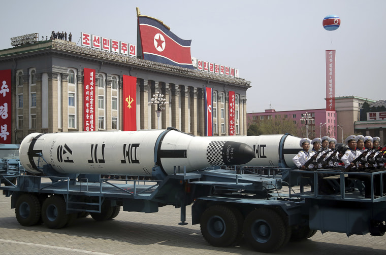 Image: A submarine-launched ballistic missile was part of Saturday's mass parade.