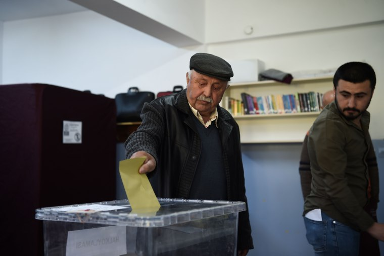 Image: Voting began early on Sunday in Turkey's referendum.