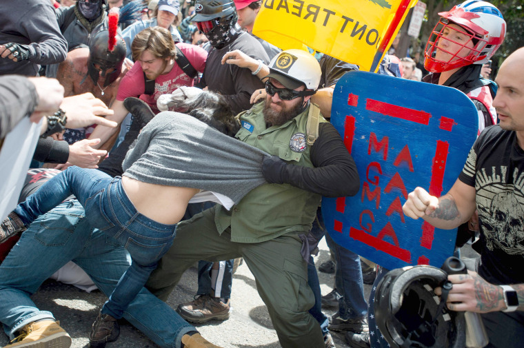 Image: Multiple fights broke out between Trump supporters and anti-Trump protesters in Berkeley, California, when the groups took to the streets on April 15, 2017.