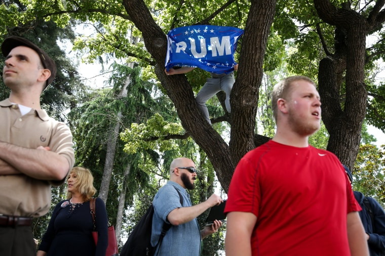 """Image: A Trump supporter puts a Trump flag up in a tree at a \""""Patriots Day\"""" free speech rally on April 15 in Berkeley."""