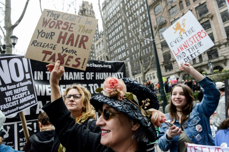 Image: People participate in a protest on April 15, in New York City.