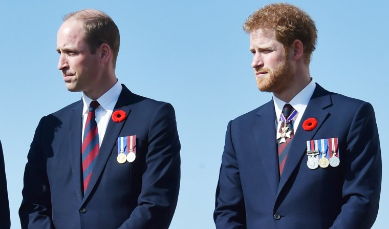 Prince Harry and Prince William in Northern France.