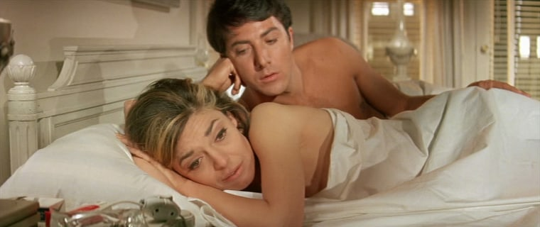 """Hoffman and Anne Bancroft have pillow talk in """"The Graduate."""""""