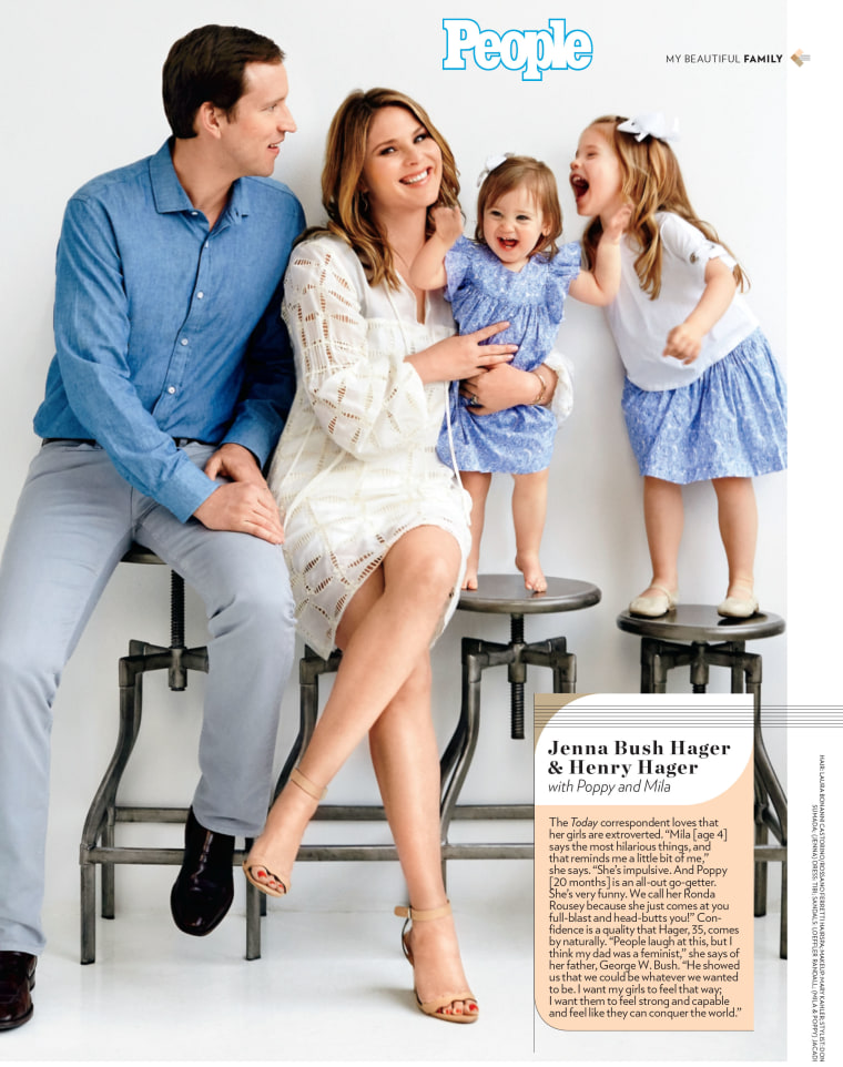 Jenna Bush Hager and her family as they appear in People's Most Beautiful issue.