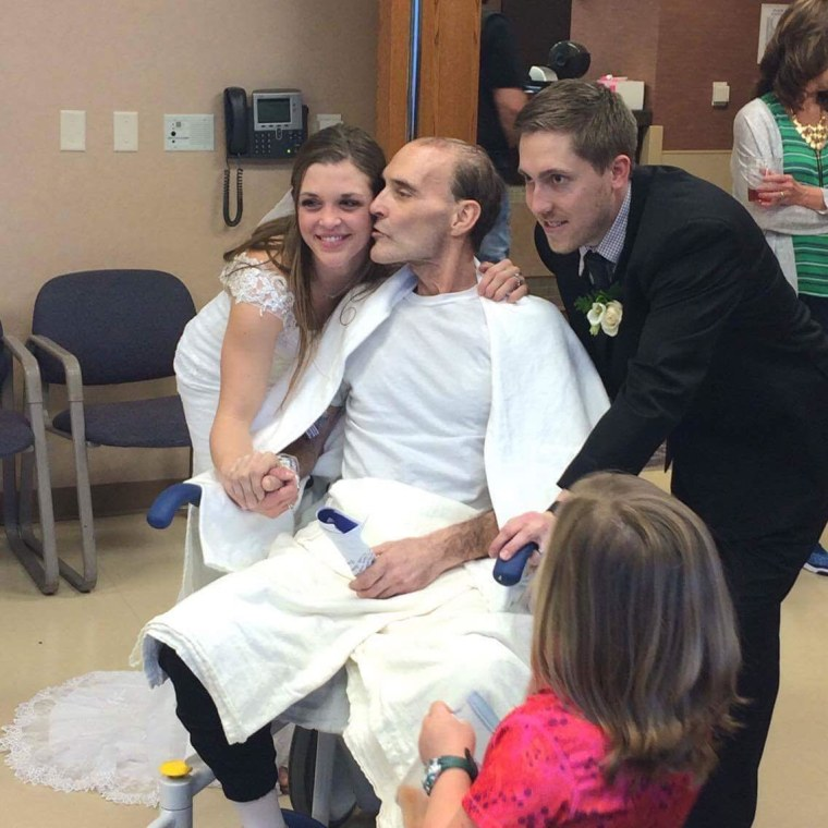 Dan Harrahill (center) attends the wedding of daughter Emilea Harrahill (left) and Kyle Harshman on March 24.