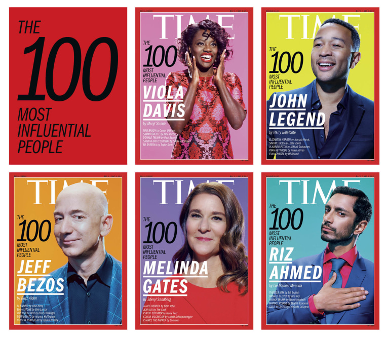 The five covers of TIME's annual 100 Most Influential People issue.