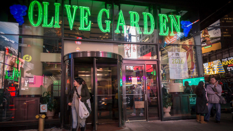 An Olive Garden restaurant in Times Square in New York is seen on Tuesday, December 22, 2015.