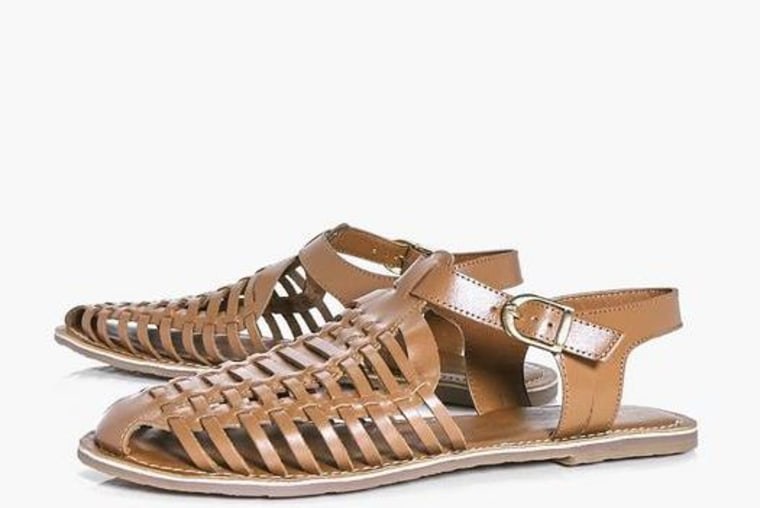 Leather woven sandals