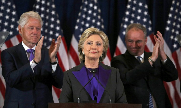 Image: Hillary Clinton addresses her staff and supporters about the results of the U.S. election at a hotel in New York