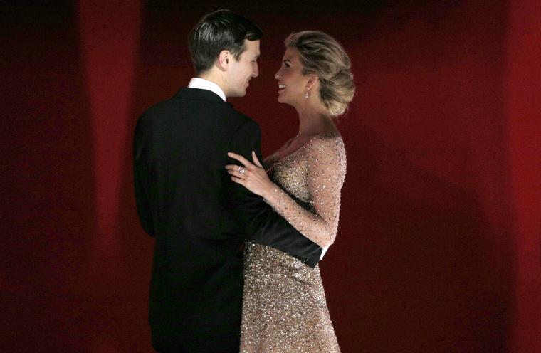 """Ivanka Trump and Jared Kushner dance at the president's \""""Liberty\"""" Inaugural Ball in Washington"""